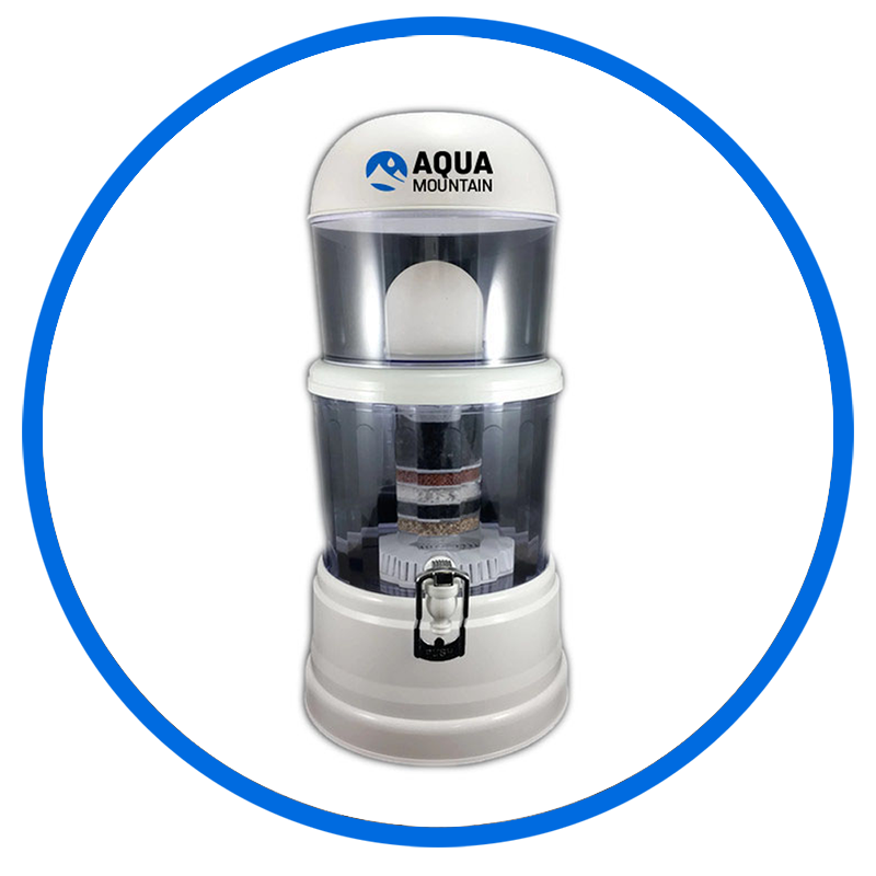 Alkaline water filter 12 litre aquamountain alkaline for Water fountain filtration system